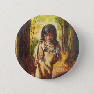 Native American Girl 6 Cm Round Badge