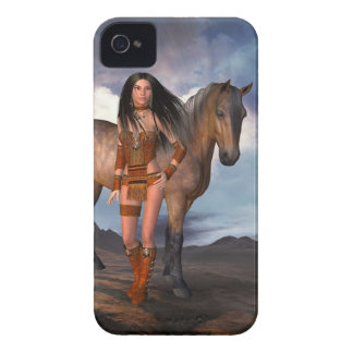 Native American Girl Bay Horse iPhone 4 Case
