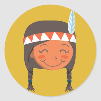 Native American Girl Classic Round Sticker