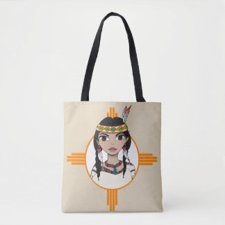 Native American girl designed tote bag