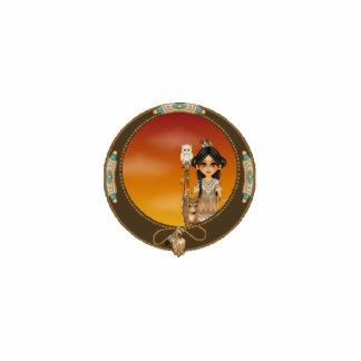 Native American Girl Photo Sculpture Badge