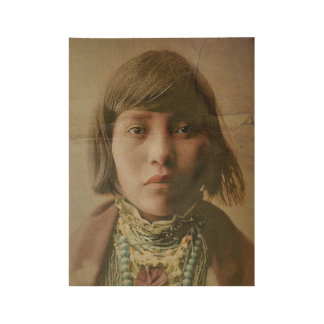 Native American Girl Wood Poster