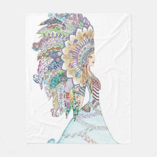 Native American Girl's Headdress Fleece Blanket