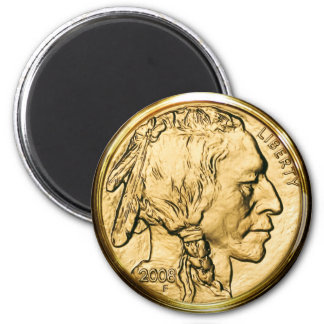 Native American Gold Coin 6 Cm Round Magnet