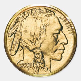 Native American Gold Coin Round Sticker