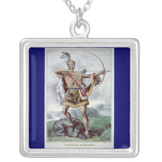 Native American Hunter chain-necklace Silver Plated Necklace