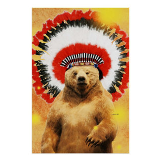 Native American Indian Bear! Poster