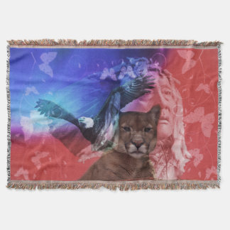 Native American Indian Chief Throw Blanket