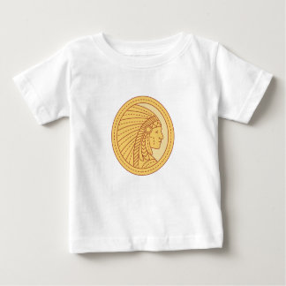Native American Indian Chief Warrior Mono Line Baby T-Shirt