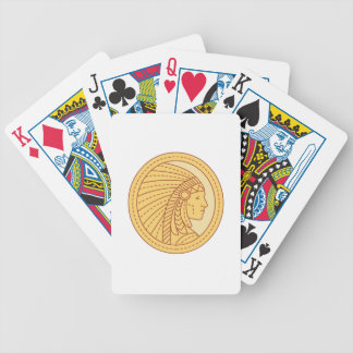 Native American Indian Chief Warrior Mono Line Bicycle Playing Cards