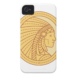 Native American Indian Chief Warrior Mono Line Case-Mate iPhone 4 Case
