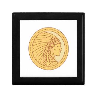 Native American Indian Chief Warrior Mono Line Gift Box