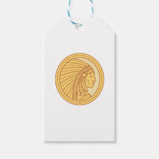 Native American Indian Chief Warrior Mono Line Gift Tags