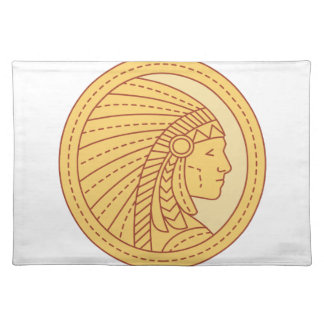 Native American Indian Chief Warrior Mono Line Placemat