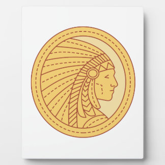 Native American Indian Chief Warrior Mono Line Plaque