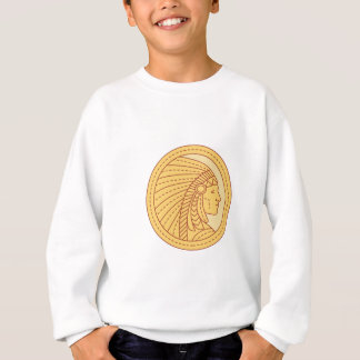 Native American Indian Chief Warrior Mono Line Sweatshirt