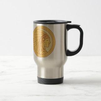 Native American Indian Chief Warrior Mono Line Travel Mug