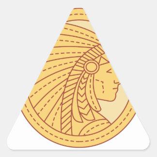 Native American Indian Chief Warrior Mono Line Triangle Sticker
