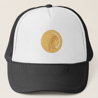 Native American Indian Chief Warrior Mono Line Trucker Hat