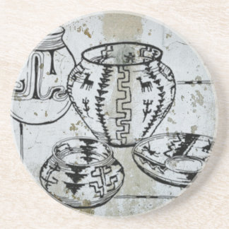 Native American Indian Clay Pottery Southwest Drink Coaster