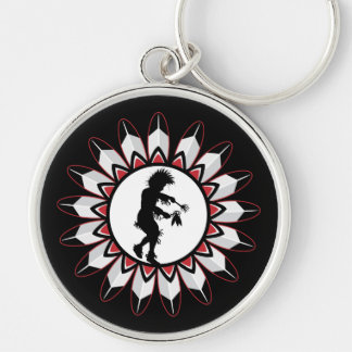 Native American Indian Dance Silver-Colored Round Keychain