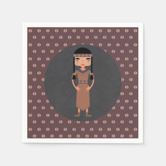 Native American Indian Girl Birthday Party Disposable Serviettes