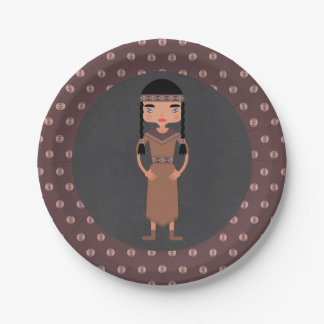 Native American Indian Girl Birthday Party Paper Plate