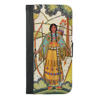 Native American Indian Girl Bow Arrows Forest iPhone 6/6s Plus Wallet Case