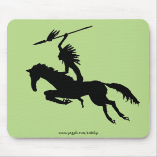 Native American Indian on horse ink pen drawing Mouse Pad