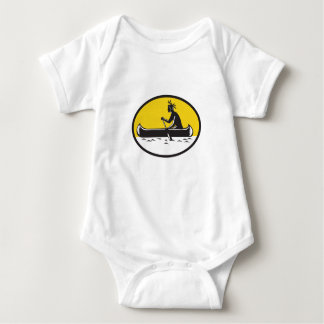 Native American Indian Paddling Canoe Woodcut Baby Bodysuit