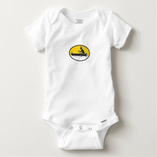 Native American Indian Paddling Canoe Woodcut Baby Onesie
