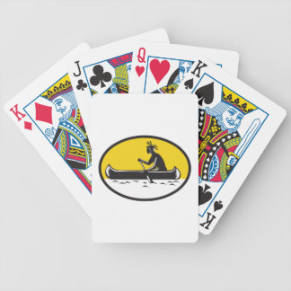 Native American Indian Paddling Canoe Woodcut Bicycle Playing Cards