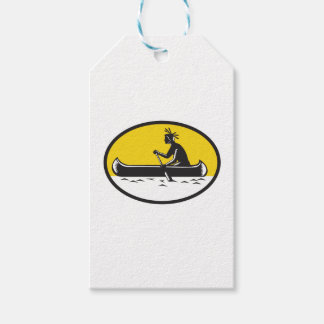 Native American Indian Paddling Canoe Woodcut Gift Tags