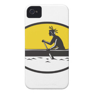 Native American Indian Paddling Canoe Woodcut iPhone 4 Case