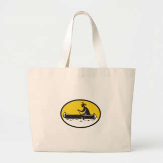 Native American Indian Paddling Canoe Woodcut Large Tote Bag
