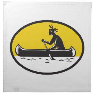 Native American Indian Paddling Canoe Woodcut Napkin