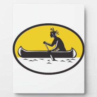Native American Indian Paddling Canoe Woodcut Plaque