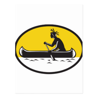 Native American Indian Paddling Canoe Woodcut Postcard