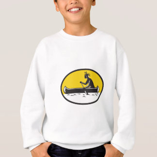 Native American Indian Paddling Canoe Woodcut Sweatshirt