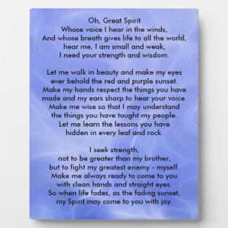 Native American Indian Prayer Plaque