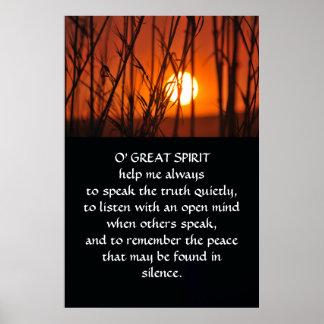Native American Indian Prayer Poster