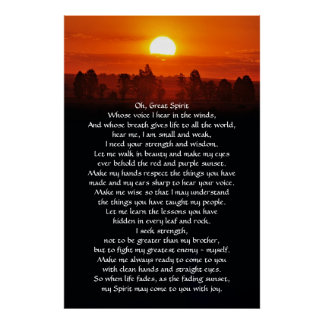 Native American Indian Prayer Poster