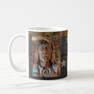 Native American Indian sculpture with fox feathers Coffee Mug