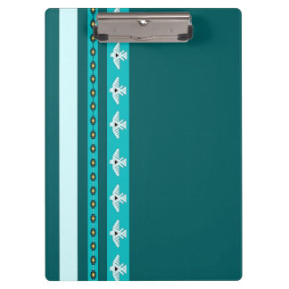 Native American Indian Thunderbird Teal Clipboard