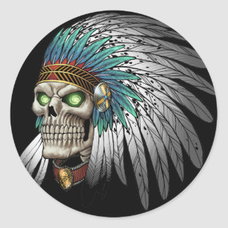 Native American Indian Tribal Gothic Skull Classic Round Sticker