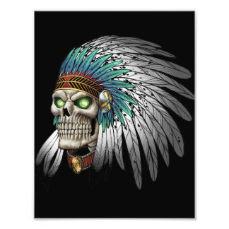 Native American Indian Tribal Gothic Skull Photo Art