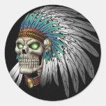 Native American Indian Tribal Gothic Skull Sticker
