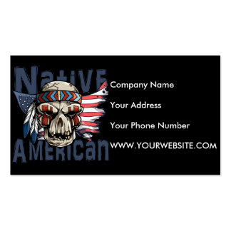 Native American Indian Warrior Skull USA Flag Pack Of Standard Business Cards