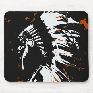 Native American Indian within Flames Mouse Pad