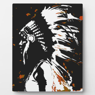 Native American Indian within Flames Plaque